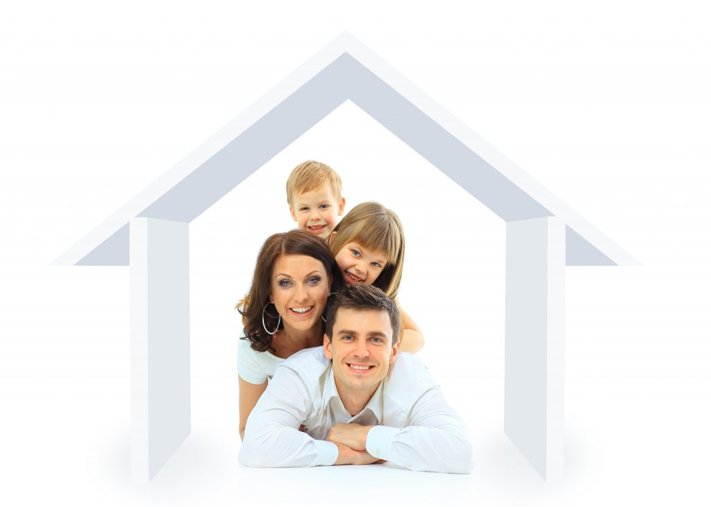 happy family inside a home concept graphic